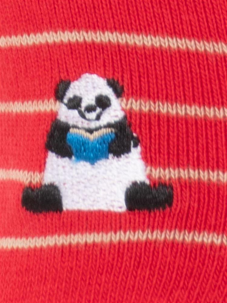 綿混パンダ刺繍ボーダーローカットくるぶしソックス