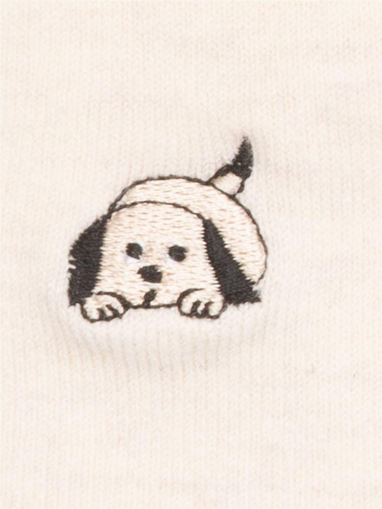 綿レーヨン犬伏せ刺繍5本指ソックス14cm丈