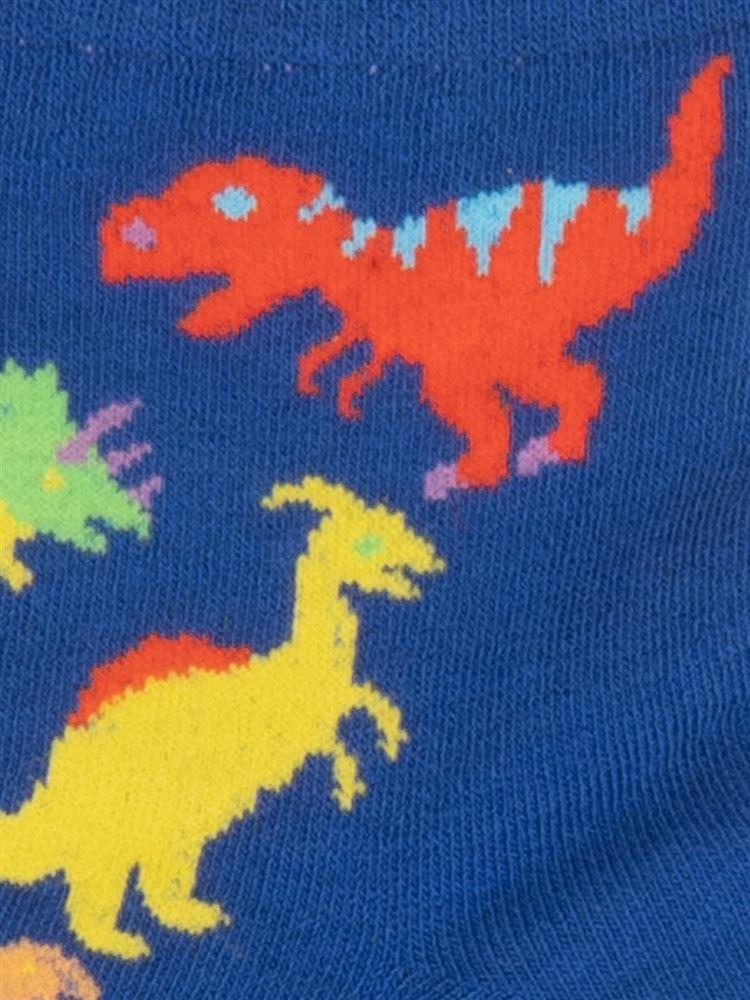 [キッズ]綿混カラフル恐竜柄ソックス