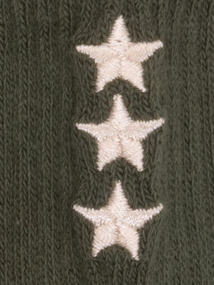 [キッズ]綿混アメリブバック星刺繍ソックス