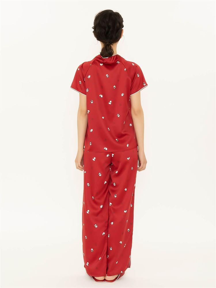 パンダ柄チャイナ風サテンパジャマ(半袖×ロングパンツ)