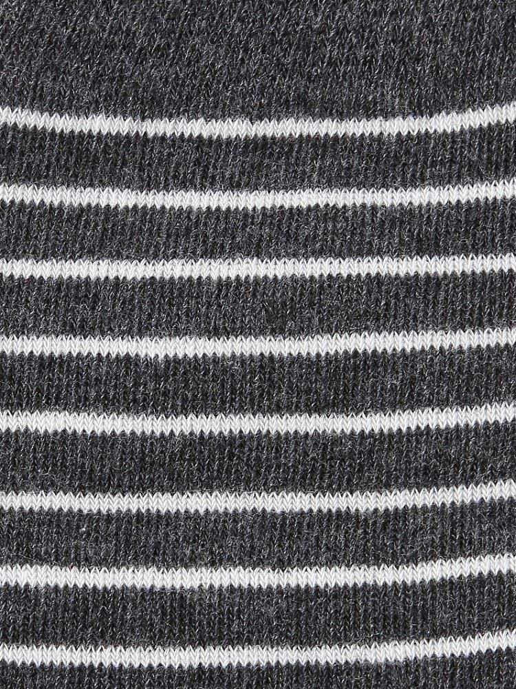 綿混つま先シルク細ボーダー5本指ソックス14cm丈