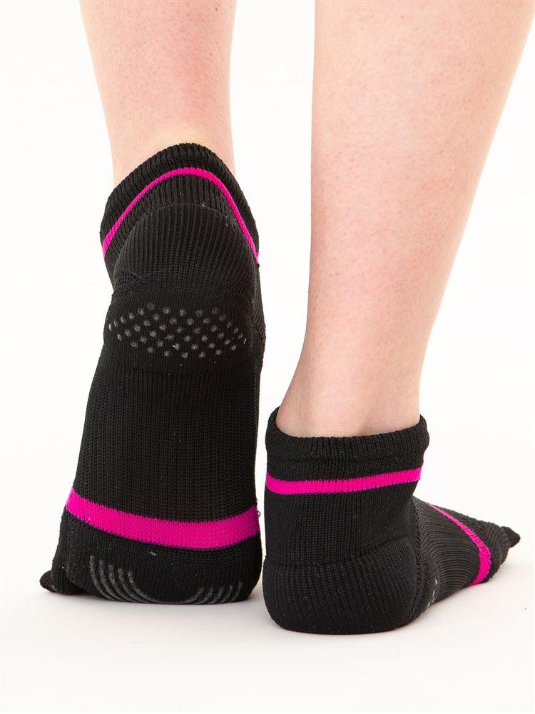 指先立体編み母趾踵クッション付き5本指ソックス