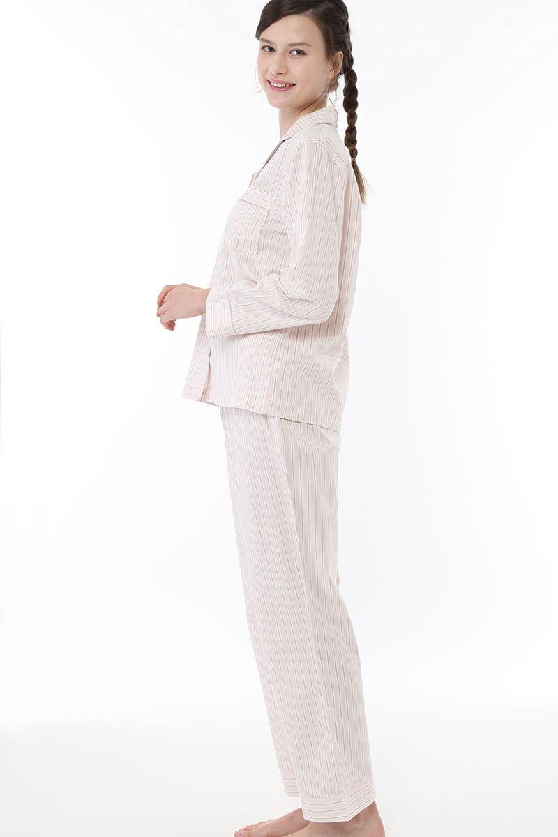 布帛ストライプ柄前開き長袖パジャマ