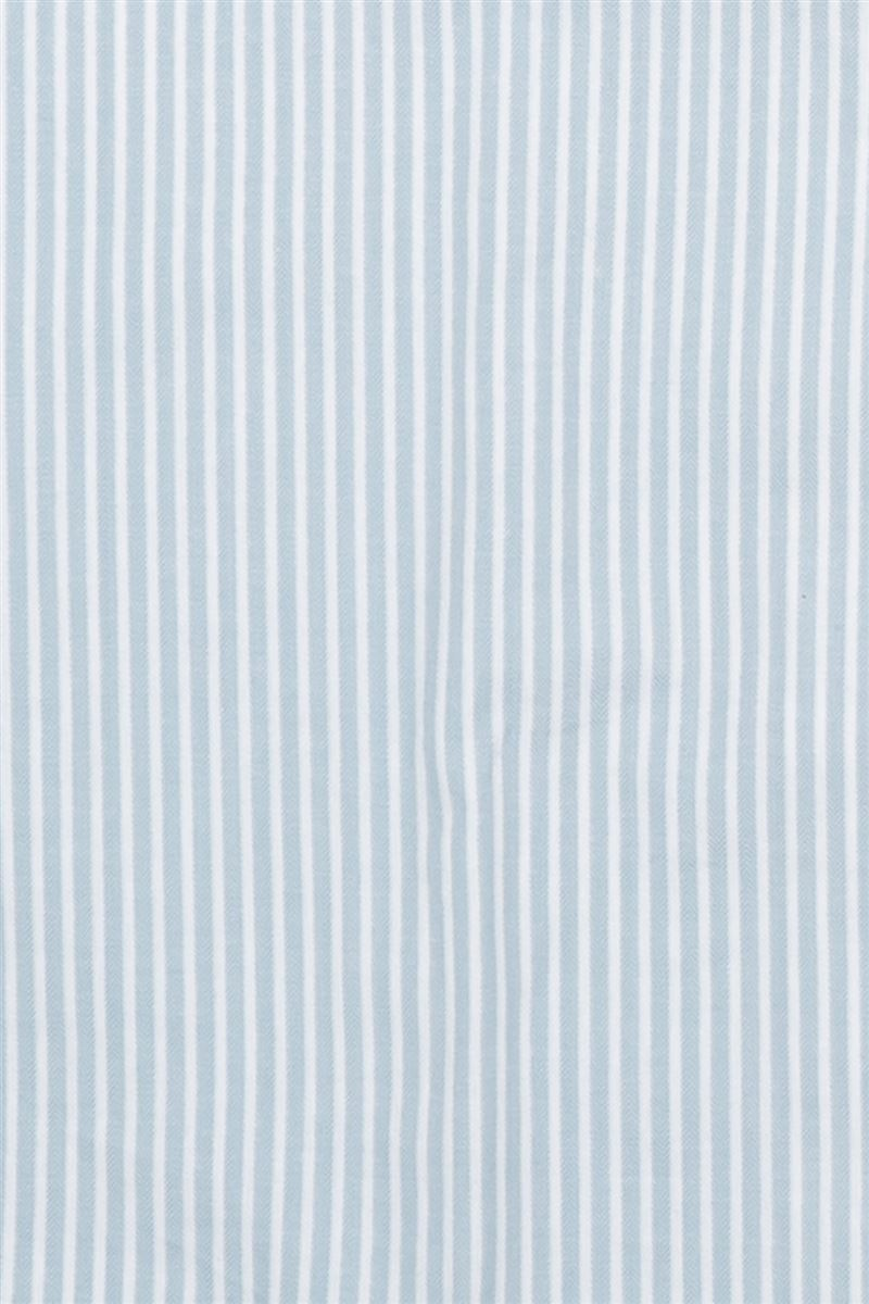 綿100%布帛ストライプ衿付き前開き長袖パジャマ