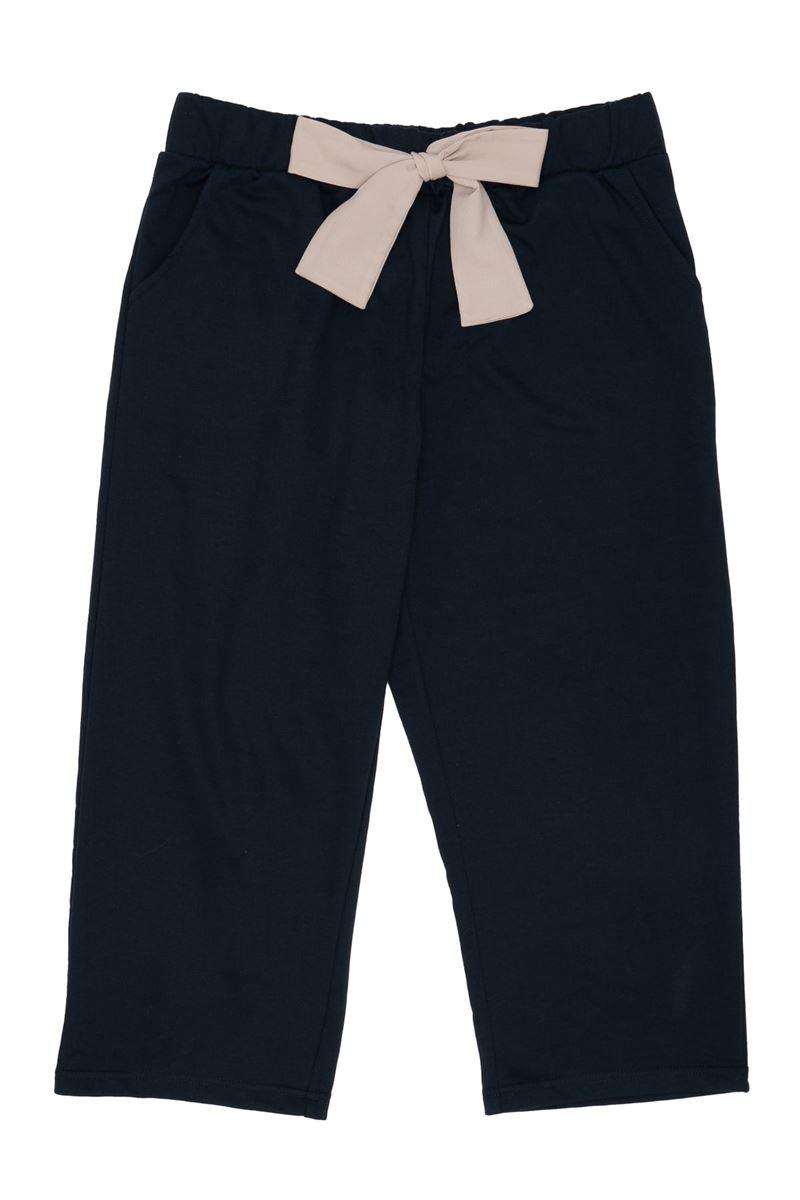 綿混裏毛無地リボン付き7分丈パンツ