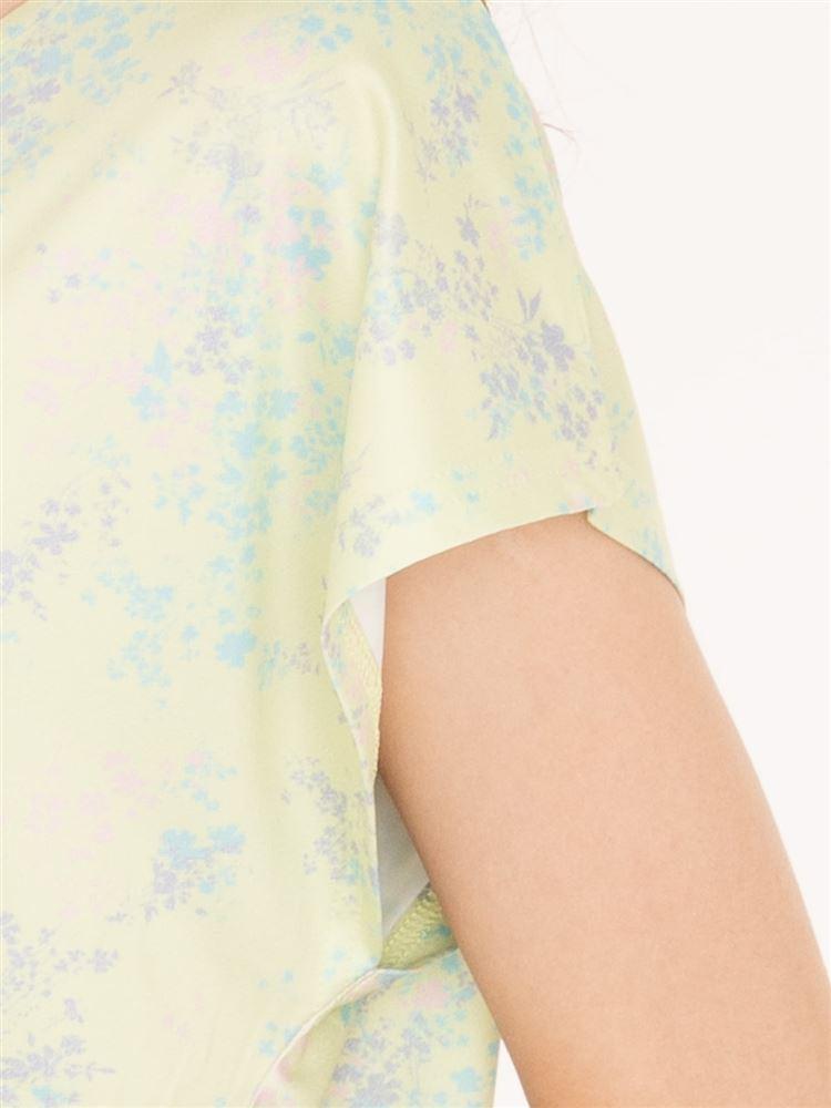 [スポーツ]ヨガ花柄ドルマンTシャツ