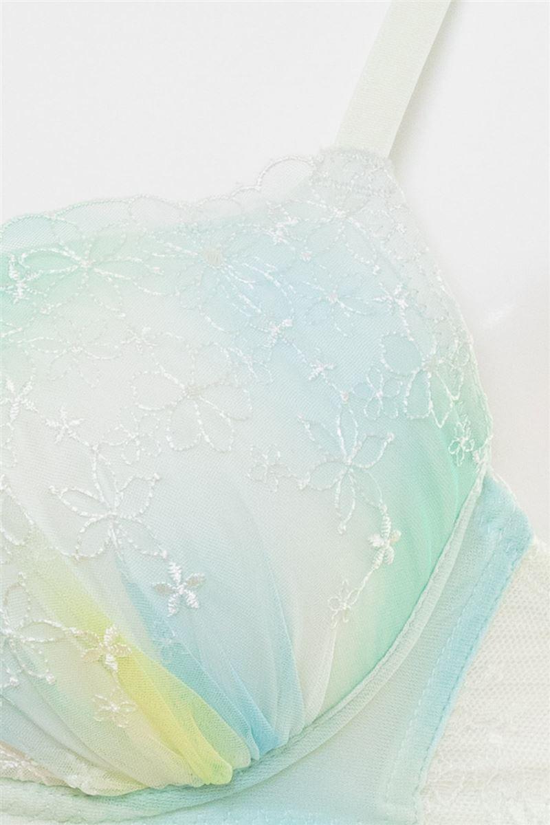 [谷間・すっぴんメイクブラ]マーブル×刺繍ノンワイヤーブラ