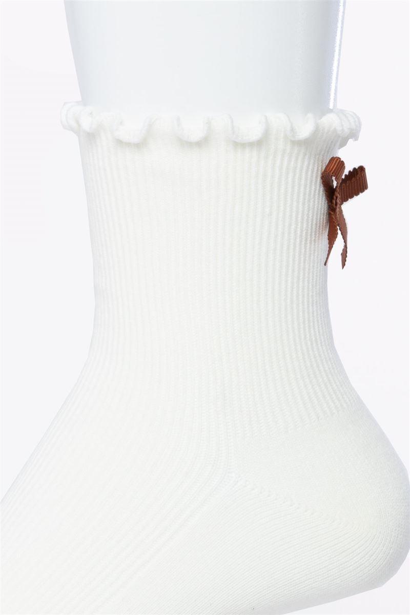綿混口ゴムメローリブバックリボン付きソックス13cm丈