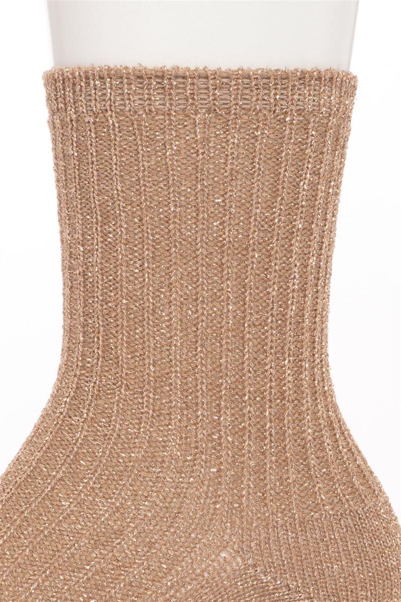 ラメリブ畔編みローゲージソックス17cm丈