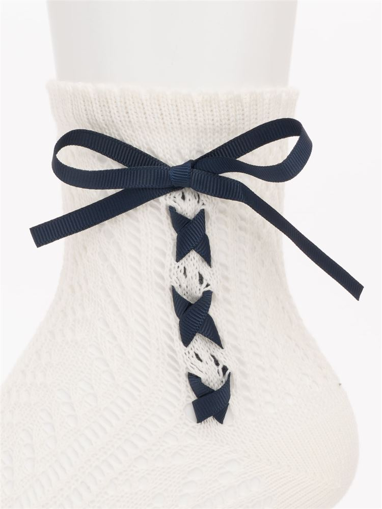 ルミーサイドグログランリボン編み上げソックス14cm丈