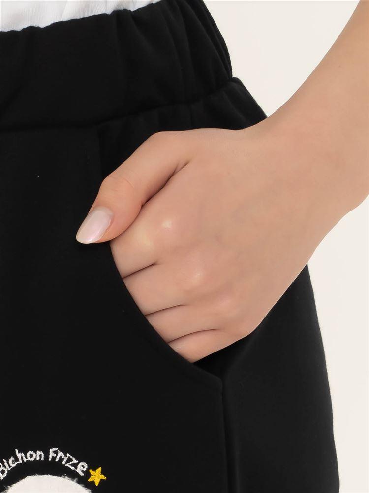 裏毛ビションフリーゼ刺繍7分丈パンツ