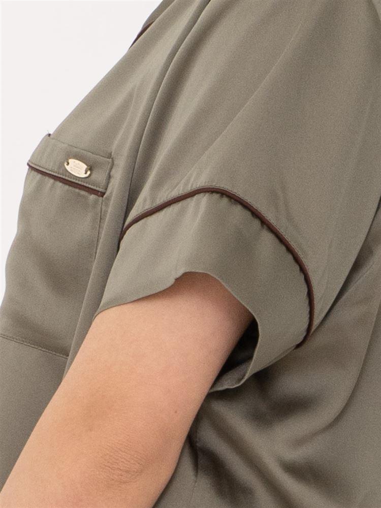 ヴィンテージ風サテンパジャマ(半袖×1分丈パンツ)