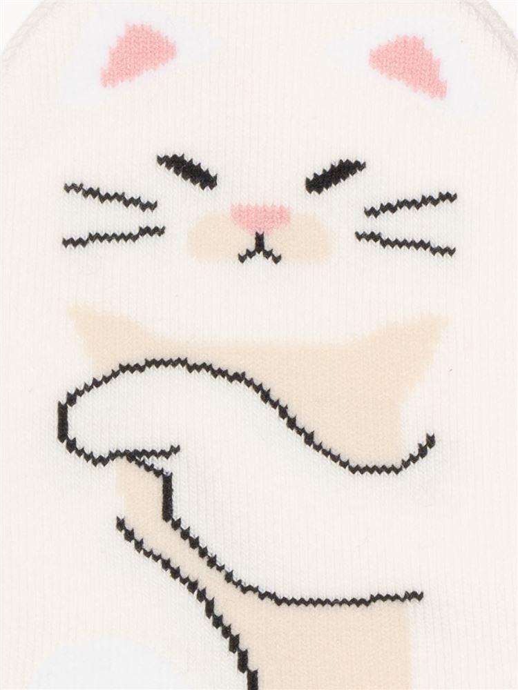 綿混足底寄り添うネコくるぶしソックス