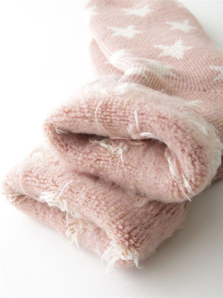まるで毛布!のような暖かさ裏起毛星柄ソックス19cm丈