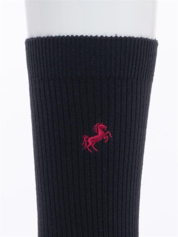 馬刺繍綿混ハイソックス28cm丈