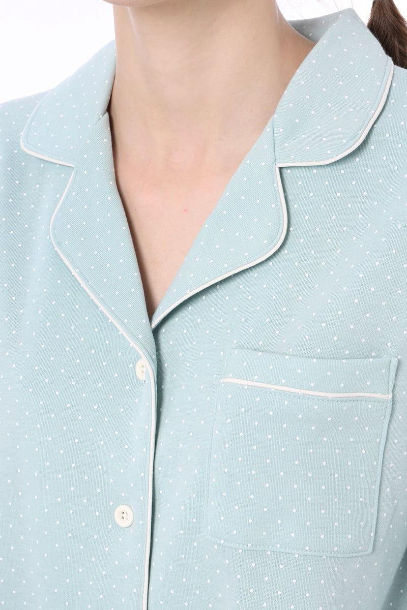 ドット柄衿付き前開きダンボール長袖パジャマ