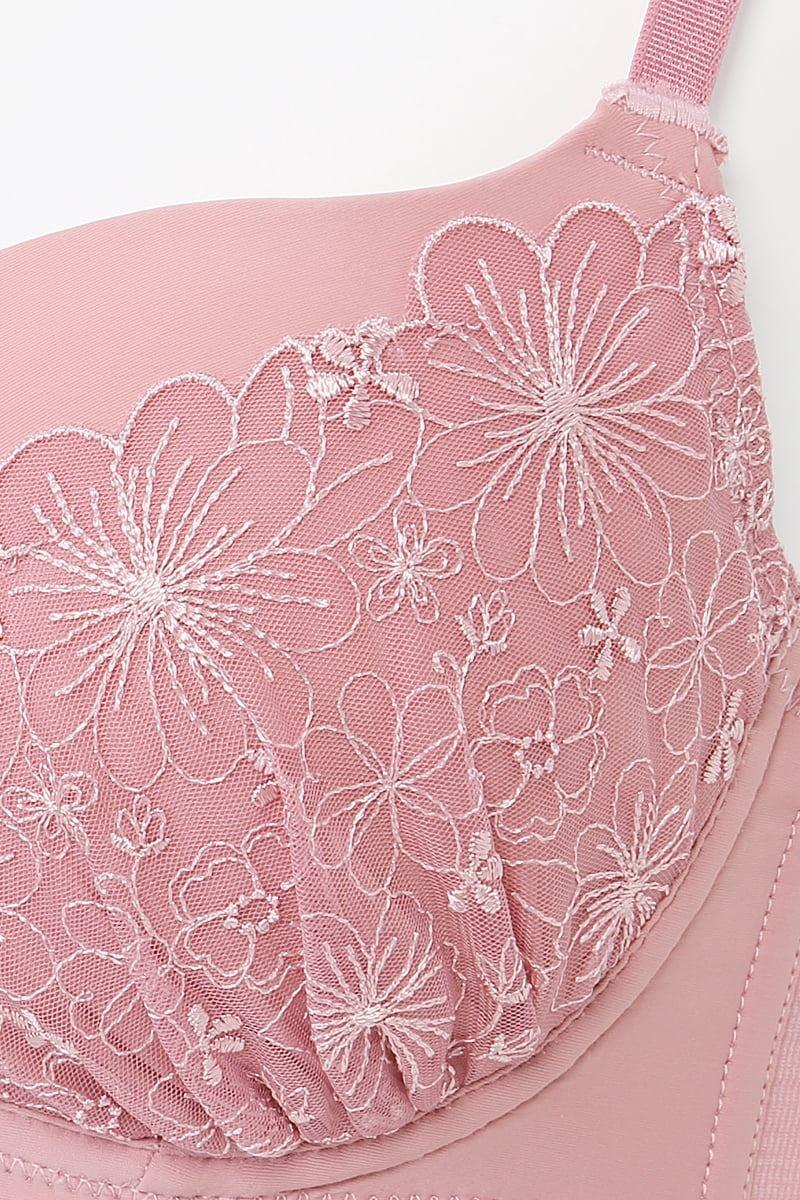 [谷間・すっぴんメイクブラ]単色刺繍ノンワイヤーブラ