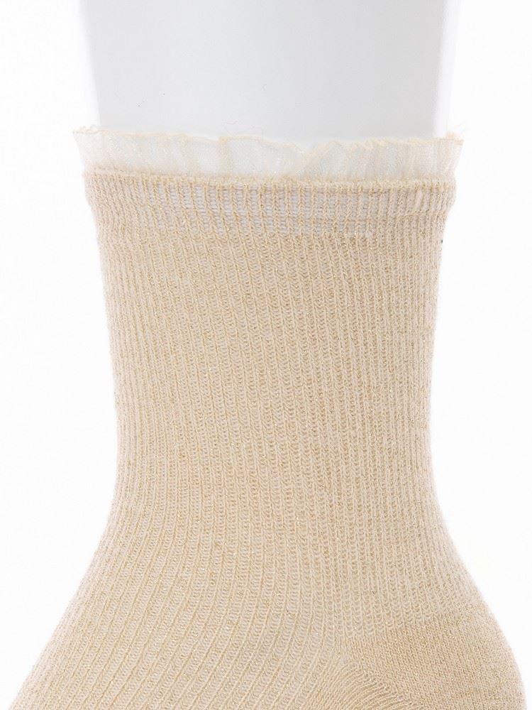 [レディライン]履き口オーガンジーレースリブラメソックス13cm丈