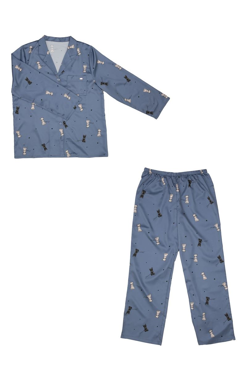サテン猫柄前開き長袖パジャマ