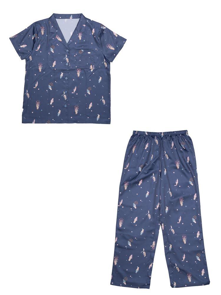 サテンソフトクリーム柄衿付き前開き半袖パジャマ