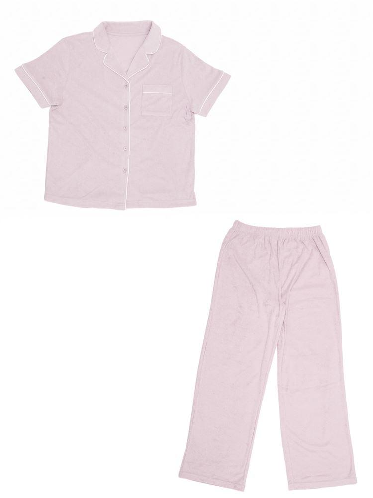 パイル無地衿付き前開き半袖パジャマ