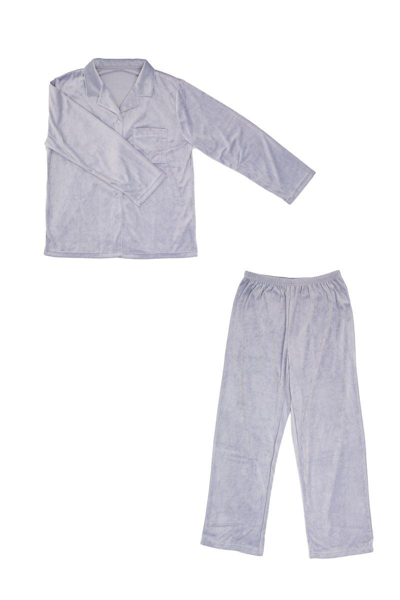 ベロア襟付き無地前開き長袖パジャマ
