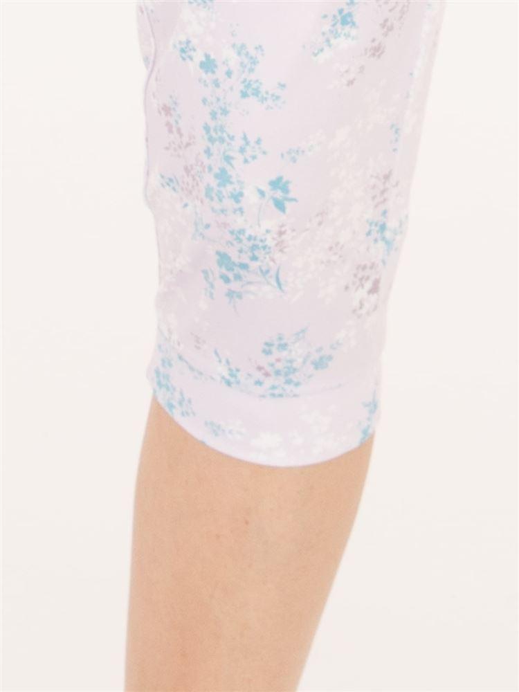 [スポーツ]ヨガ花柄7分丈パンツ