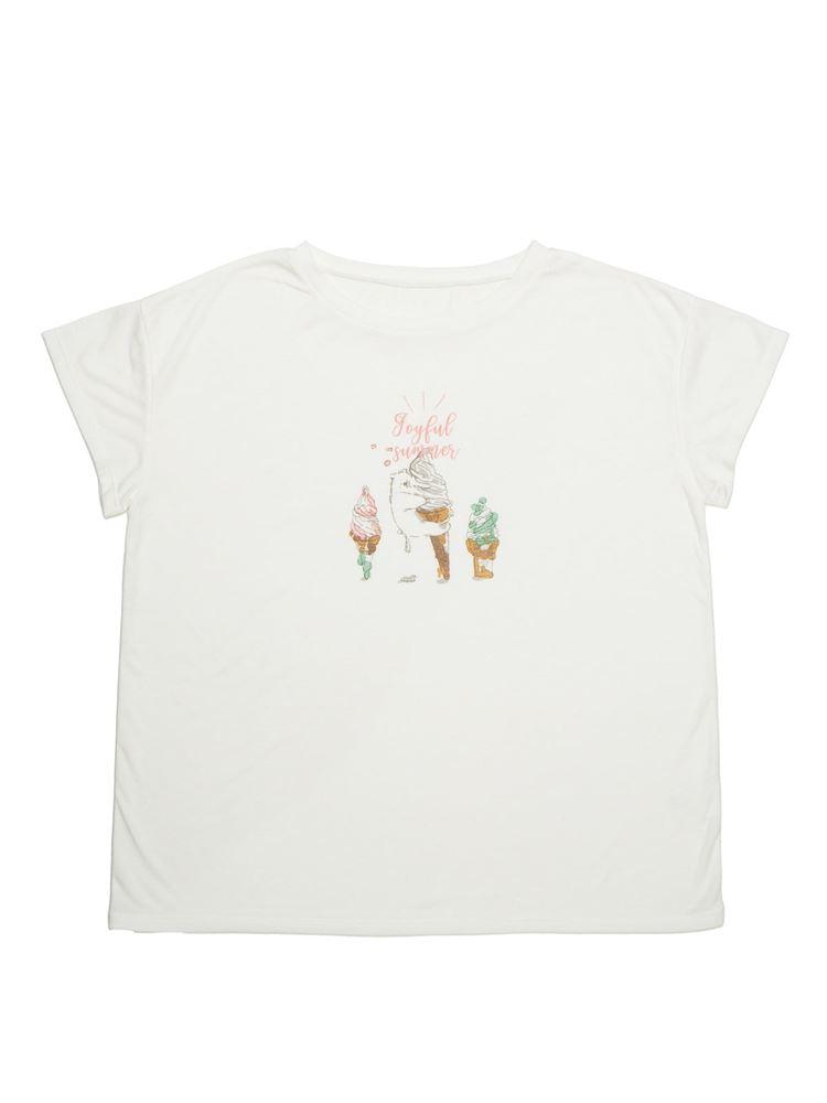 ソフトクリーム柄ドロップショルダーTシャツ
