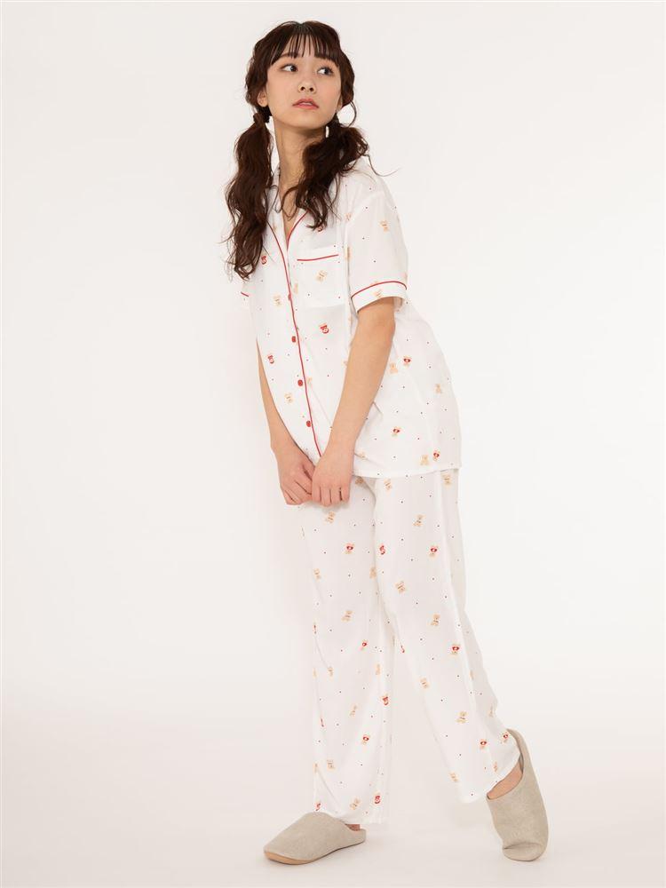 くま柄レーヨン布帛パジャマ(半袖×ロングパンツ)