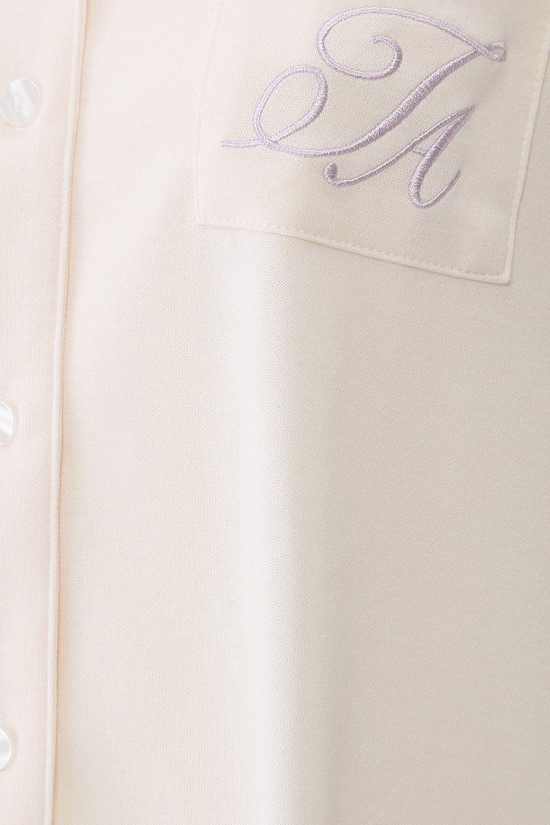 ボトムストライプ衿付き前開きダンボールパジャマ