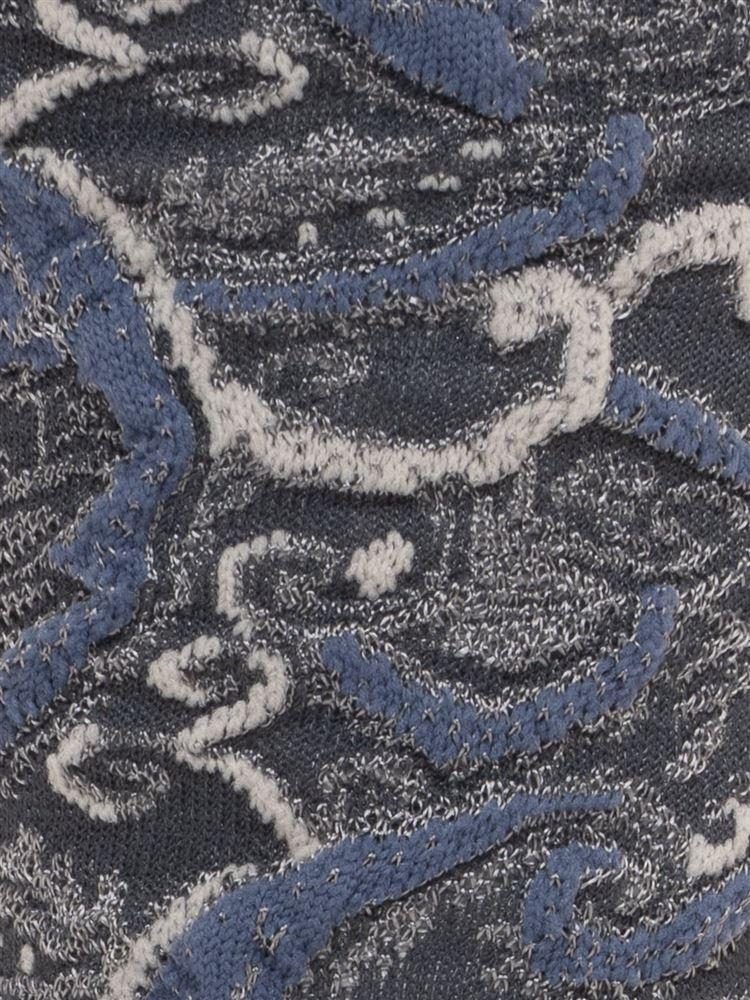 [レディライン]光沢糸フロートペイズリー柄ソックス20cm丈