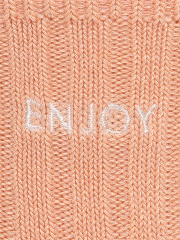 温調ENJOY刺繍リブソックス12cm丈