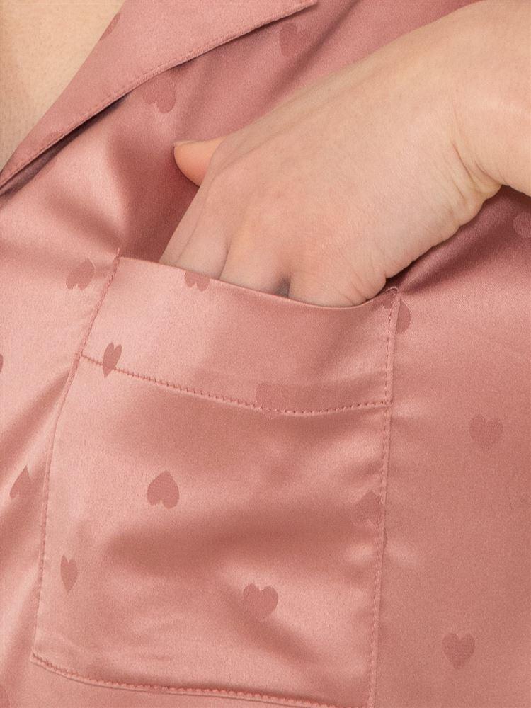 ハートジャガードサテンパジャマ(半袖×1分丈パンツ)