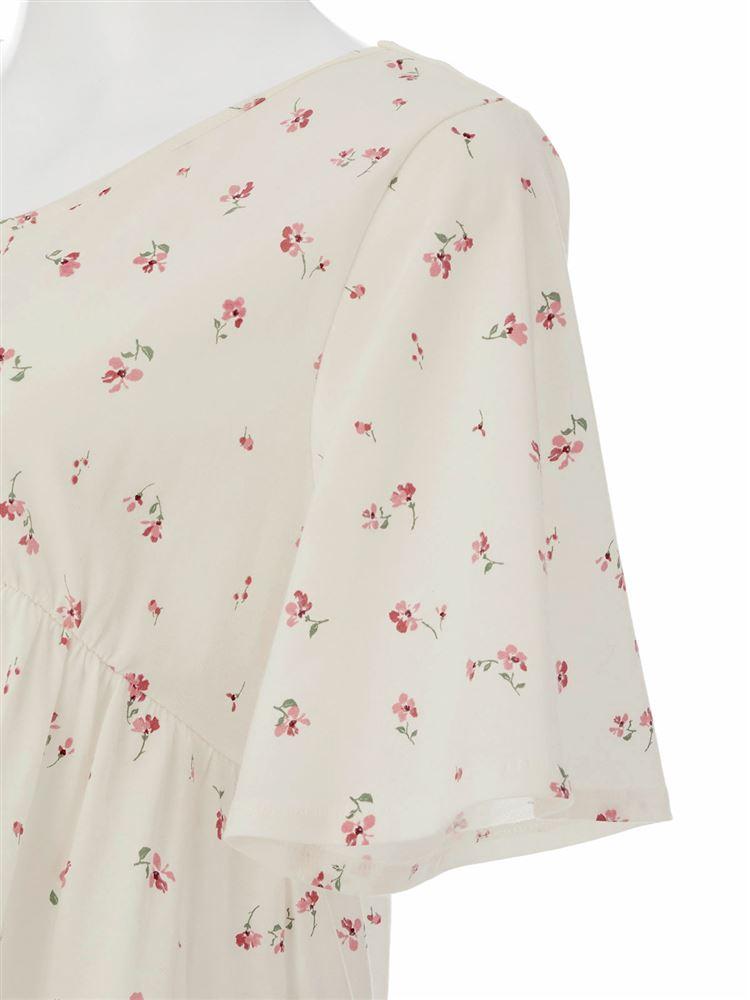綿天竺花柄ワンピース