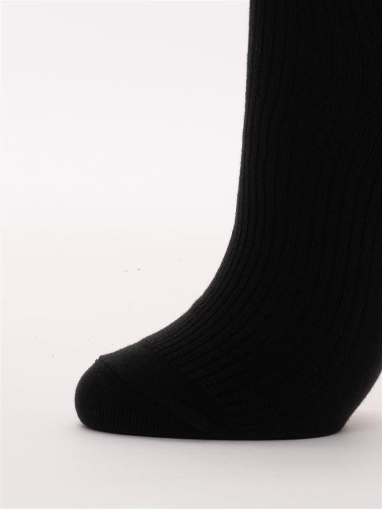 エッフェル塔刺繍綿混ハイソックス28cm丈