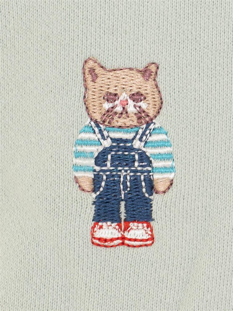 ねこ刺繍裏毛ジョガーパンツ