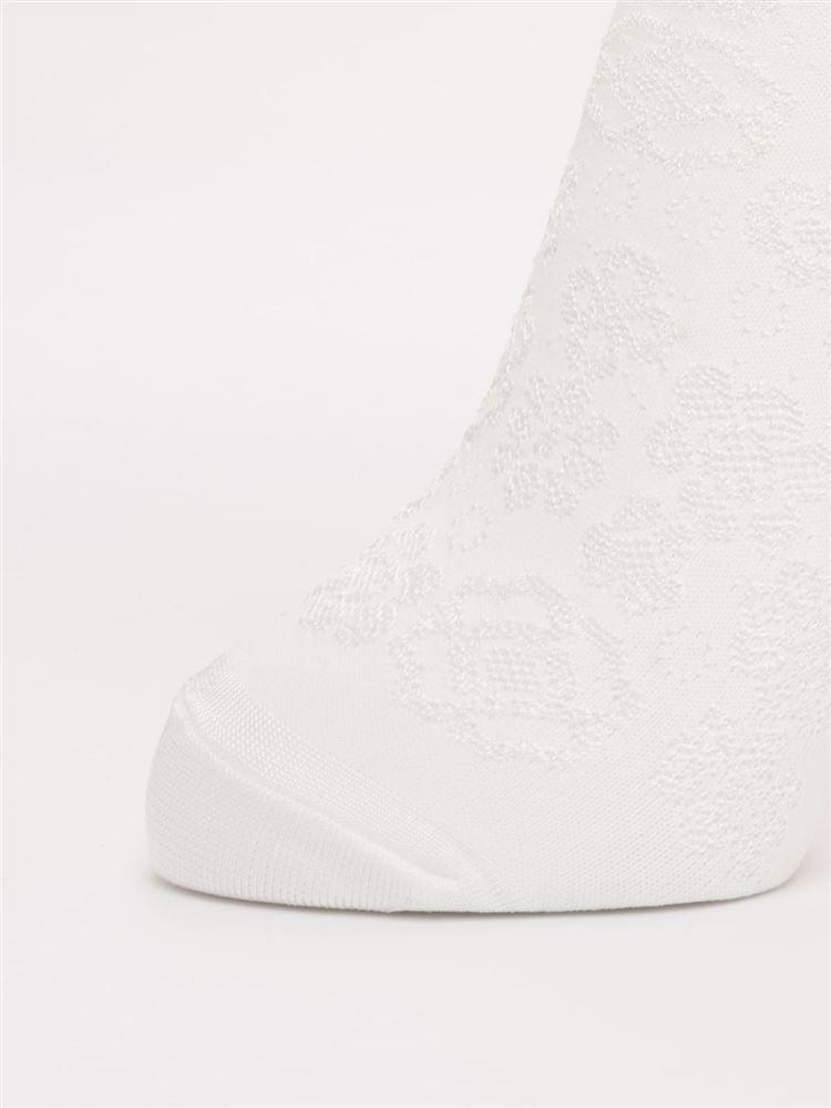 [レディライン]深すくい花フロート柄ソックス15cm丈