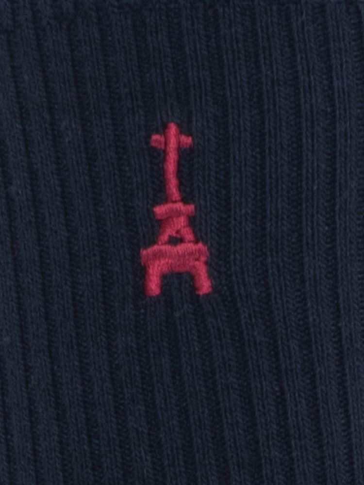 エッフェル塔刺繍綿混ハイソックス32cm丈