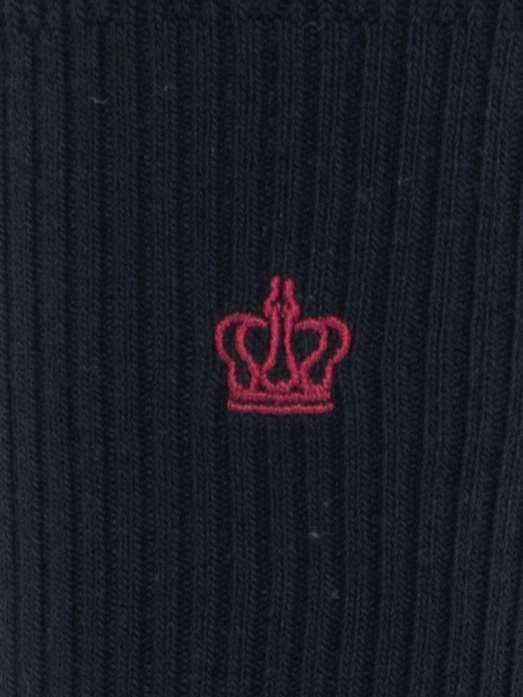 王冠刺繍綿混ハイソックス32cm丈