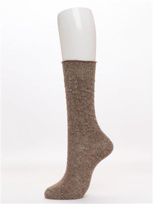 綿ネップ編みソックス25cm丈|クルーソックス