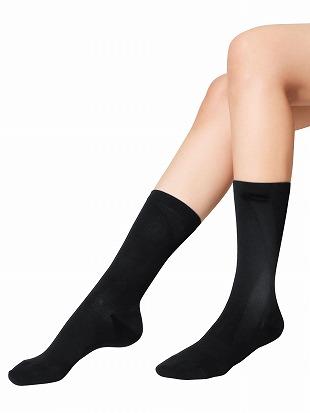 [健康と美キュキュすらっと]脚シェイプソックス【綿タイプ】|クルーソックス