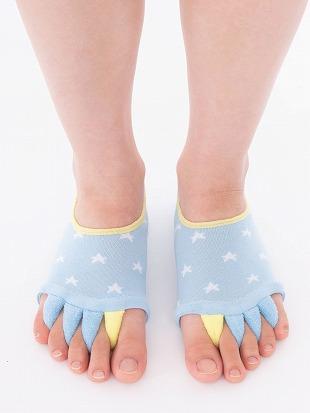 [健康と美]足指解放足底クッション付き星柄ソックス|