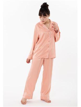 サテン無地衿付き前開き長袖パジャマ|パジャマ