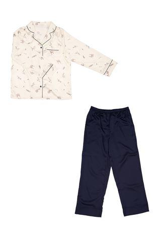サテンフェミニン柄衿付き前開き長袖パジャマ|パジャマ