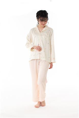 サテンチェリー柄前開き長袖パジャマ|パジャマ