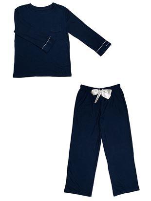 スムースかぶり袖ワンポイント長袖パジャマ パジャマ