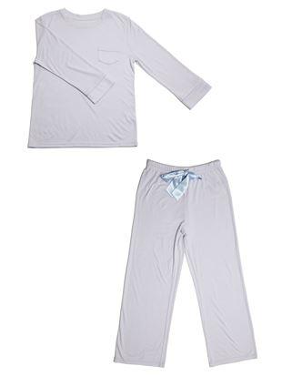 スムースかぶり袖ワンポイント長袖パジャマ|