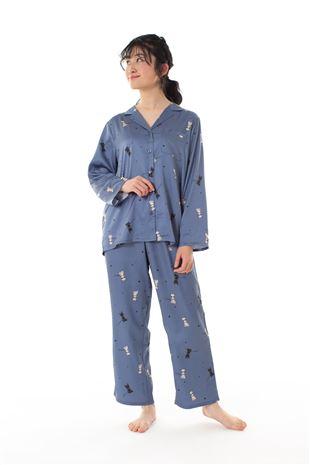 サテン猫柄前開き長袖パジャマ|