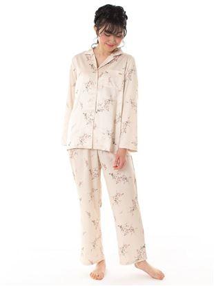 サテン花柄前開き長袖パジャマ|